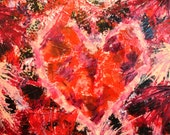 SALE Love Heart OOAK Abstract Acrylic Modern Painting Romance FREE Shipping Red Pink Black Mom Gift Bold Textured 11x14 Colorful Collage Art