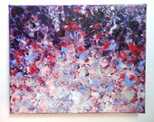 SALE - Original Sunrise Sunset Modern Acrylic Abstract Painting Purple Pink Plum Red FREE SHIPPING White Pink Violet Lilac 8x10 Impasto Art