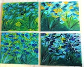 SALE - SET of 4 ORIGINAL 8 x 10 Paintings Abstract Coastal Acrylic Ocean Modern Impasto Beautiful Texture Blue Teal Green Rust Yellow