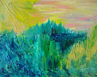 SALE Dream Abstract Acrylic Painting FREE SHIPPING Impasto Landscape 16x20 Forest Nature Lover Pink Yellow Peach Pastel Teal Nursery Art