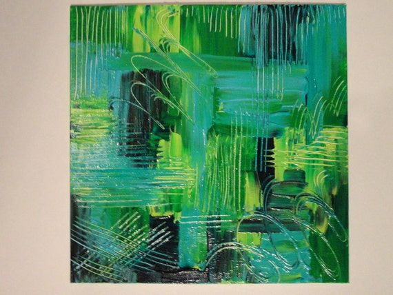 ORIGINAL Painting. Rhapsody in Green. FREE SHIPPING.Abstract. Acrylic. Modern.12 x 12. Beautiful. Expressionism. Green.  Forest. Kelly. Neon