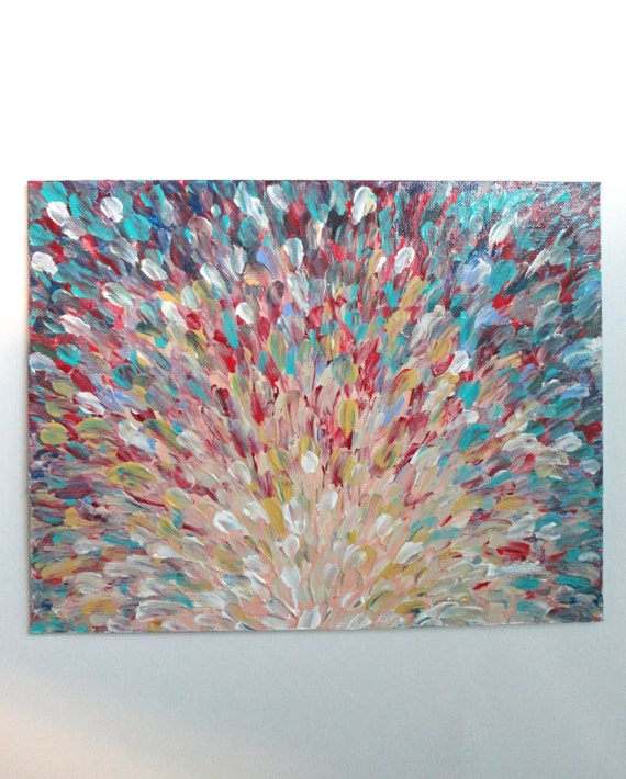 SALE - Original Acrylic Painting, Abstract FREE SHIPPING Bright Splash Waves Nature Pink Peach Turquoise Red 11 x 14 Xmas Gift Under 100