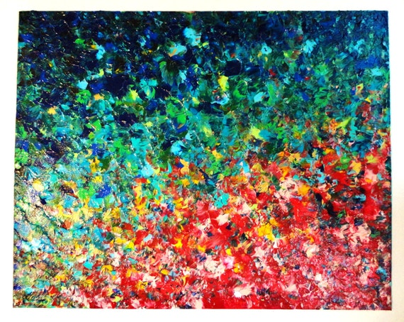 SALE - Original Acrylic Painting Abstract Rainbow FREE SHIPPING 16 x 20 Large Irish Luck Color Textured Red Yellow Aqua Blue Teal Green Navy