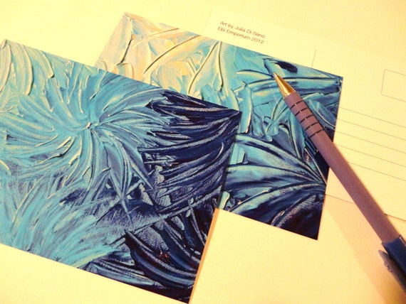 SALE - 2 ART POSTCARDS Set of 2 Prints of Ooak Abstract Acrylic Painting Stunning Blue Floral Stationery Aceo Cards For Her For Him Greeting