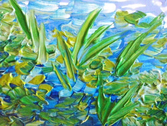 RESERVED for Erica - Original Abstract Acrylic 8 x 10 Painting Lake Love Blue Green Seaweed Lovely Art OOAK For Him Gift Under 75