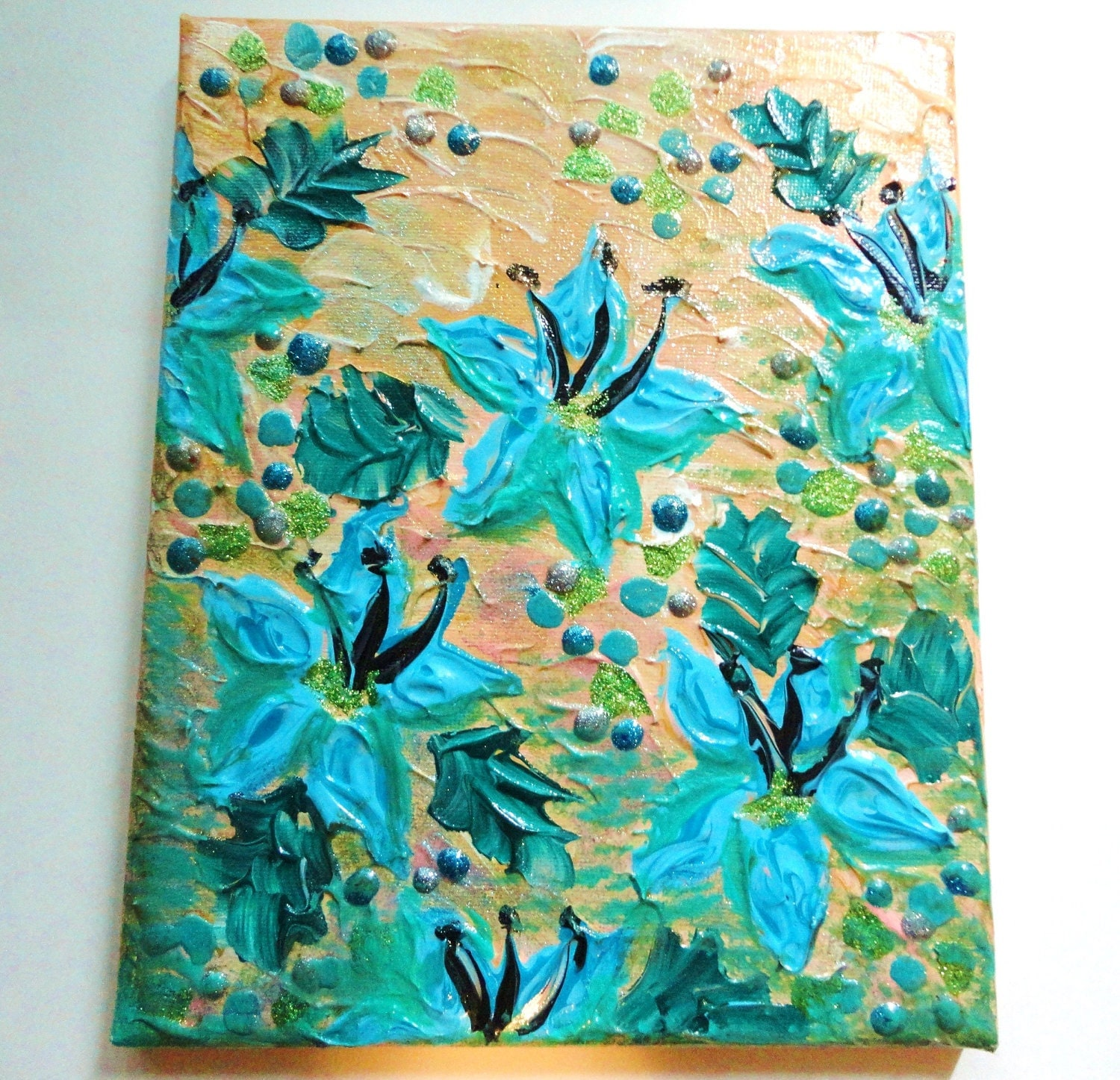 Sale original floral acrylic painting 8 x 10 free shipping for Floral acrylic paintings