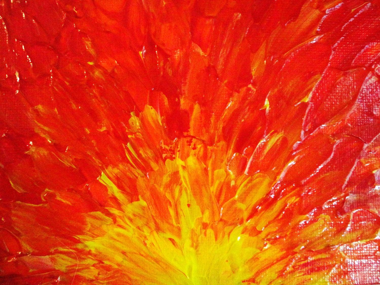 SALE - Original Abstract Painting 5 x 7 Acrylic Fury, Fiery
