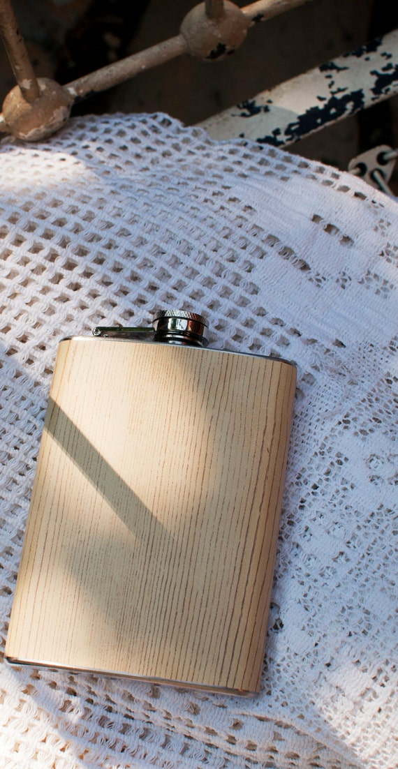 Ash Woodgrain Stainless Steel Hip Flask