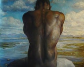 print of original painting african american man on rocks in blue ladscape