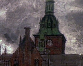 original oil painting on linen depicting clock tower