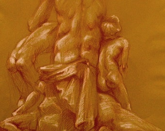 original conte on paper depicting Ugolino and His Sons,'' by Jean-Baptiste Carpeaux.