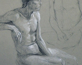 original male figure drawing charcoal on paper