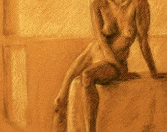 original figure drawing of woman in charcoal