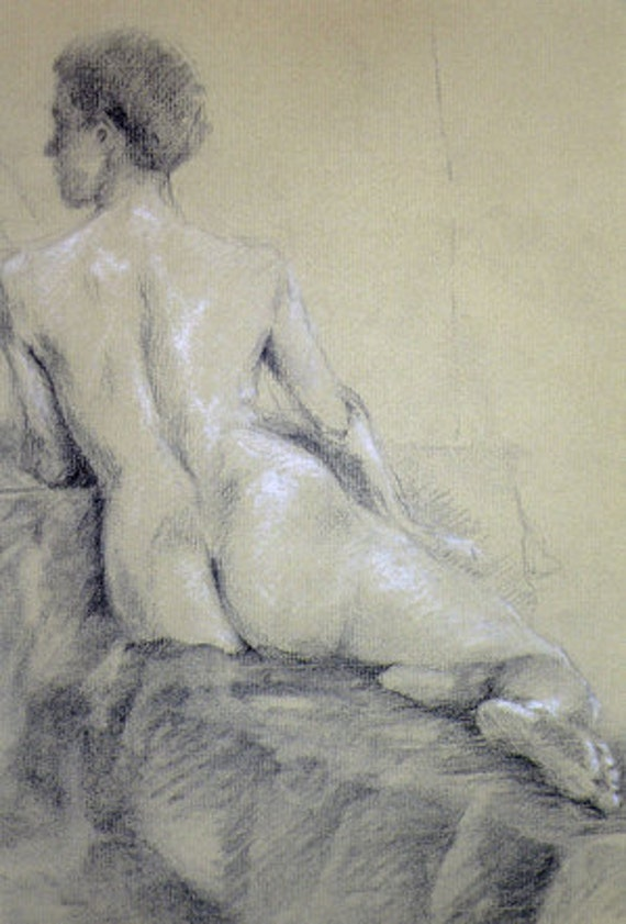 original figure drawing of seated woman