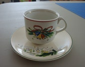 Antique Vintage 1940s Christmas Holiday English Cup & Saucer Set Made in England