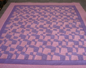 Baby Girl Quilt Scrappy Patch Pink and Purple Infant Girl Quilt Stroller Quilt Car Seat Quilt