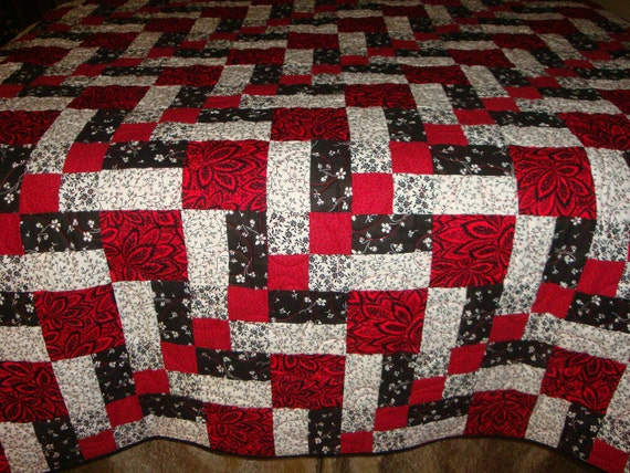 Patchwork Quilt Red White And Black By Quiltblocksandmore