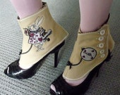 Embroidered Wool Spats with Alice in Wonderland White Rabbit and Pocket Watch Womens