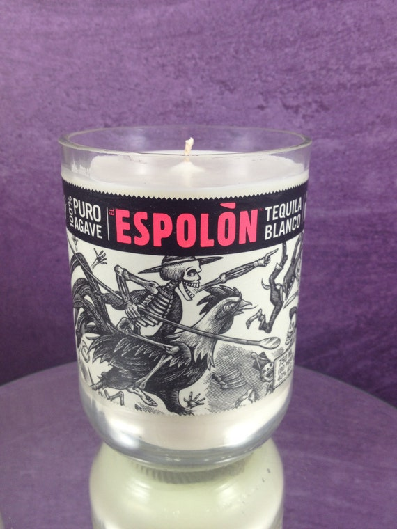 Coco Mango Espolon Tequila Bottle Natural Soy Wax Candle in Recycled Glass 92721628