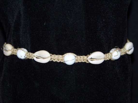 Price reduced, free shipping, no taxes, hemp choker necklace with cowry shells, white and gold ceramic beads