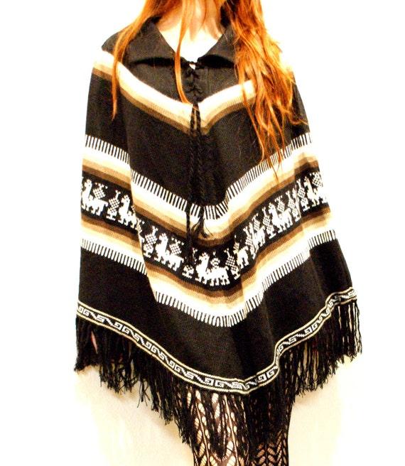 SWEATER SALE: Vintage Mexican Poncho w/ Fun Camel Design