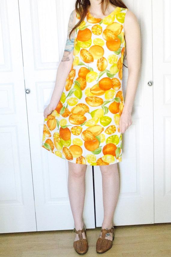 Vintage Citrus Fruit Summer Spring Sleeveless Mod Mini Dress