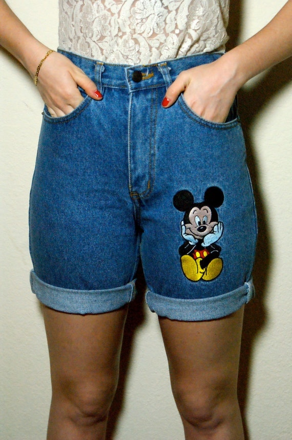 Vintage 80s High Waisted Mickey Mouse Embroidered Cuffed Denim Jean Shorts Small