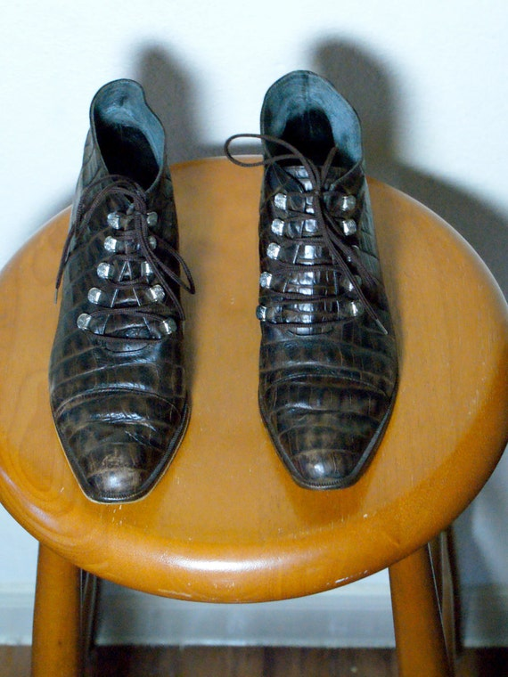 Vintage Italian Alligator Lace Up Ankle Boots Size 7