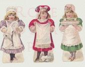 "Digital Download ""Three Little Maids"" Antique Die Cut Paper Dolls Victorian Scrap Graphic Images"
