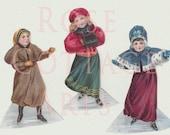 "Digital Download ""Three Little Winter Maids"" Antique Die Cut Paper Dolls Victorian Scrap Graphic Images"