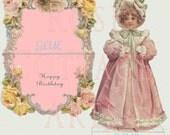 Digital Download Antique Die Cut Standup Little Girl Happy Birthday Card Victorian Scrap Graphic Image