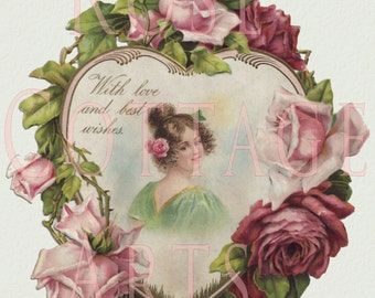 Digital Download Antique Valentine Rose Heart Lady Die Cut Victorian Scrap Graphic Image
