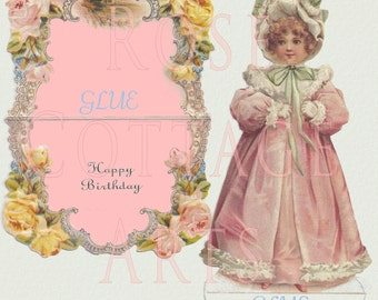 Digital Download Antique Die Cut Standup Little Girl Happy Birthday Card Victorian Scrap Graphic Image