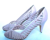 Darling Vintage 9West braided leather pumps, lavender size 6