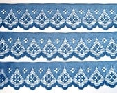 "REMNANT - Scalloped Lace Trim, Blue, 2"" inch wide, For Home Decor, Apparel, Accessories, Victorian & Romantic Crafts"