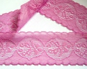 "Scalloped Lace Trim, Fuchsia, 1 3/4"" inch wide, 1 Yard, For Mixed Media, Home Decor, Apparel, Accessories, Victorian & Romantic Crafts"