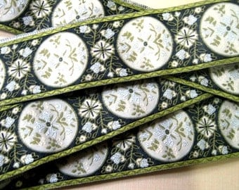 Jacquard Ribbon Trim- Marie Antoinette, Green / Ivory, 1 1/2 inch wide, 1 Yard, For Home Decor, Accessories, Apparel, Victorian Crafts