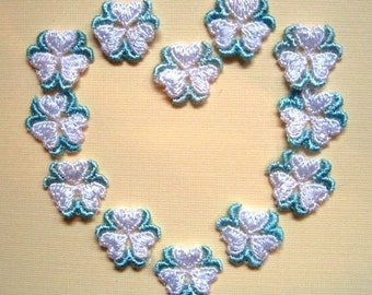 Venice Lace Embroidered Tri-Heart Appliques, White / Mint, 3/4 inch, x 12, Embellishment For Scrapbooks, Cards, Romantic & Victorian Crafts