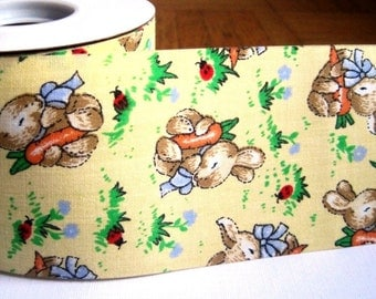 "Vintage-Inspired Easter Bunny Hop Cotton Ribbon, Yellow, 2 1/2"" inch wide, 1 yard For Home Decor, Accessories, Scrapbook, Romantic Crafts"