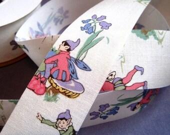 "Vintage - Inspired Cotton Ribbon Trim, Fairy Land, Multi Color, 1 3/8"" inch wide, 1 yard, For Children Crafts, Scrapbook, Decor, Accessories"