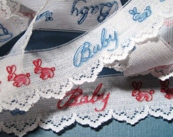 """Baby Lace Trim, White / Pink & Blue Embroidery, 1 1/8"""" inch wide, 1 yard, For Reborn, Dolls, Baby Shower, Scrapbook, Home Decor, Apparel"""
