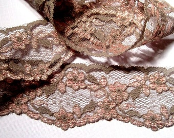 "Floral Lace Trim, Grey / Rose, 1 3/4"" inch wide, 1 Yard, For Home Decor, Apparel, Accessories, Victorian & Romantic Crafts"