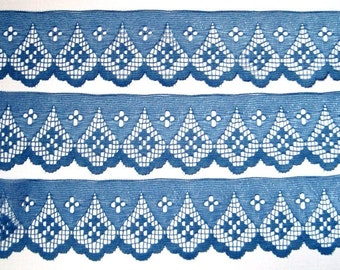 "Scalloped Lace Trim, Blue, 2"" inch wide, 1 Yard, For Home Decor, Apparel, Accessories, Victorian & Romantic Crafts"