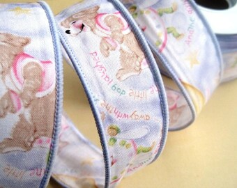 """Over The Moon Baby Cotton Wired Ribbon Trim, Shabby Blue, 1 3/8"""" inch wide, 1 yard For Home Decor, Accessories, Scrapbook, Children Crafts"""
