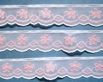 "Organza Lace with Flowers Trim, White / Pink Embroidery, 1"" inch wide, 1 yard, For Dolls, Scrapbook, Mixed Media, Home Decor, Apparel"