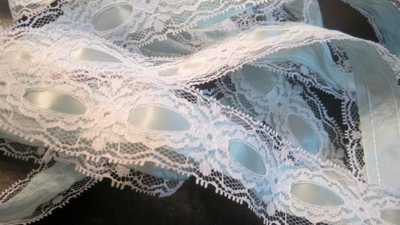 "Lace Trim with Ribbon, White / Celadon, 1 1/2"" Beading Lace with 5/8"" Ribbon, 1 Yard For Reborn, Dolls, Accessories, Home Decor, Apparel"