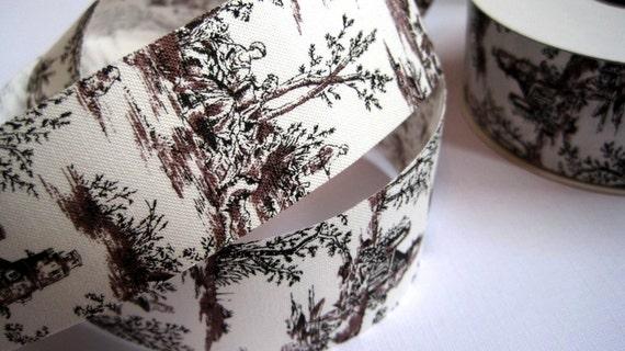 "Toile Cotton Ribbon Trim, Black, 1 3/8"" inch wide, 1 yard, For Home Decor, Accessories, Scrapbook, Victorian & Romantic Crafts"