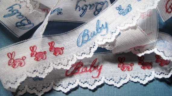"Baby Lace Trim, White / Pink & Blue Embroidery, 1 1/8"" inch wide, 1 yard, For Reborn, Dolls, Baby Shower, Scrapbook, Home Decor, Apparel"