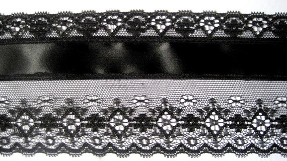 "Victorian Wide Lace With Satin Ribbon, Black, 3"" inch wide, 1 Yard, For Apparel, Accessories, Home Decor, Victorian & Romantic Crafts"
