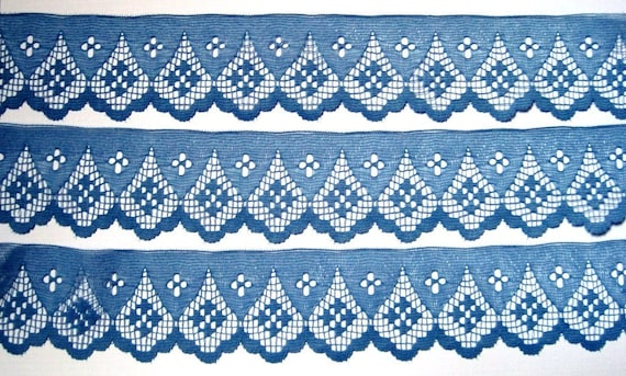"""Scalloped Lace Trim, Blue, 2"""" inch wide, 1 Yard, For Home Decor, Apparel, Accessories, Victorian & Romantic Crafts"""